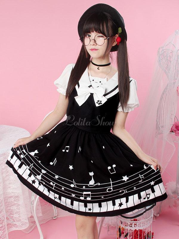 Vestido de Lolita de Popelina estilo dulce con manga corta Fiesta ...