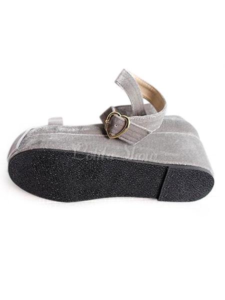 Zapatos de lolita de tela de puntera redonda Jacquard Fiesta del té bIySLeIXZ