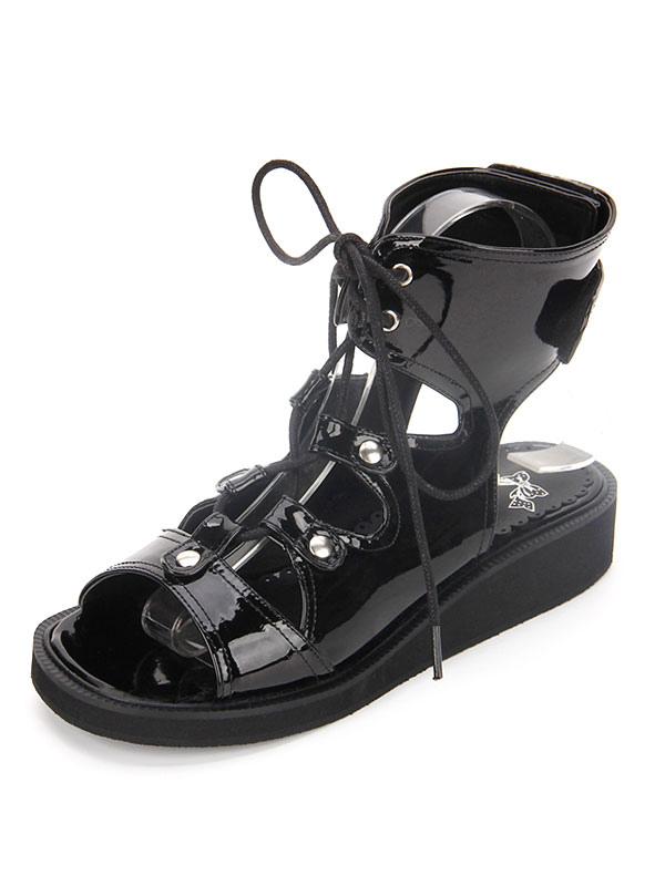 8ea1fde1113 Gothic Lolita Shoes Open Toe Lace Up Wedge Heel PU Flat Black Lolita Sandals  - Lolitashow.com