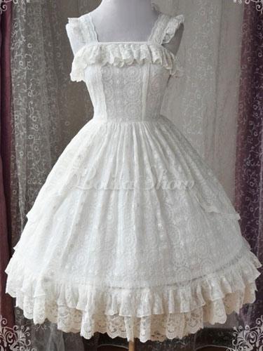 f6520f2db2822 Sweet Lolita JSK Jumper Skirt Magic Tea Party Lace Ruffles Frills  Sleeveless White Lolita Dresses - Lolitashow.com