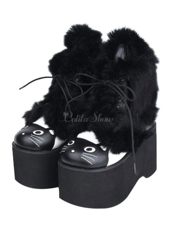 Botas de lolita de puntera cuadrada negras de dos tonos WqDLOd