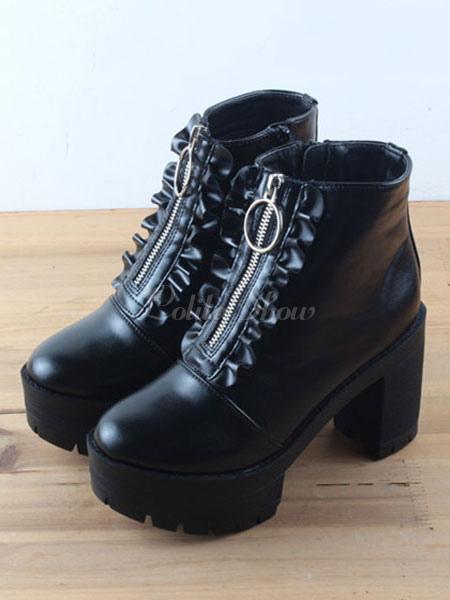 e4b20db1efa Classic Lolita Ankle Boots Round Toe Chunky Heel Platform Zip Up Black  Lolita Winter Booties