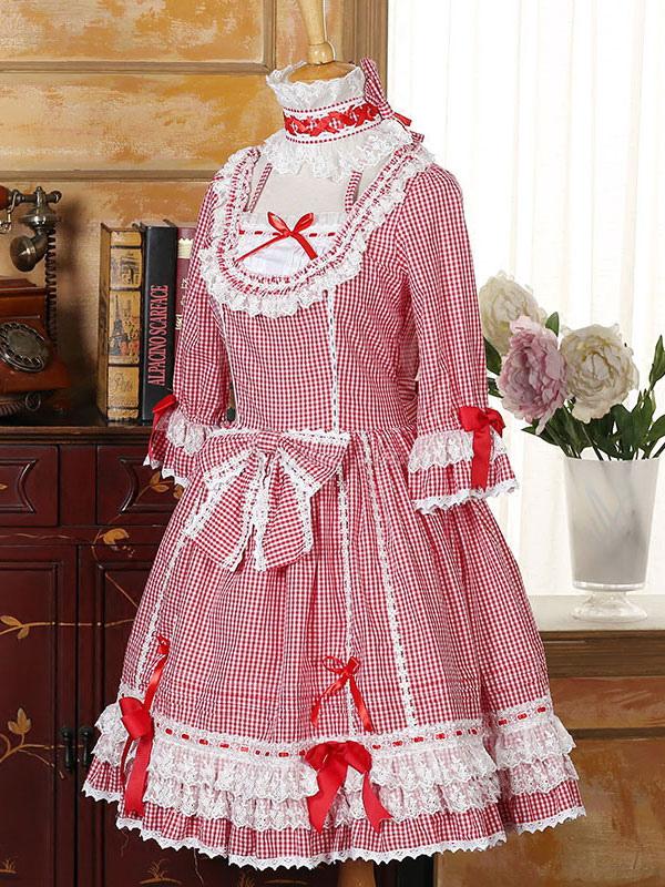 Vestido de Lolita Fiesta del té Escote diseñado con 1/2 manga con ...