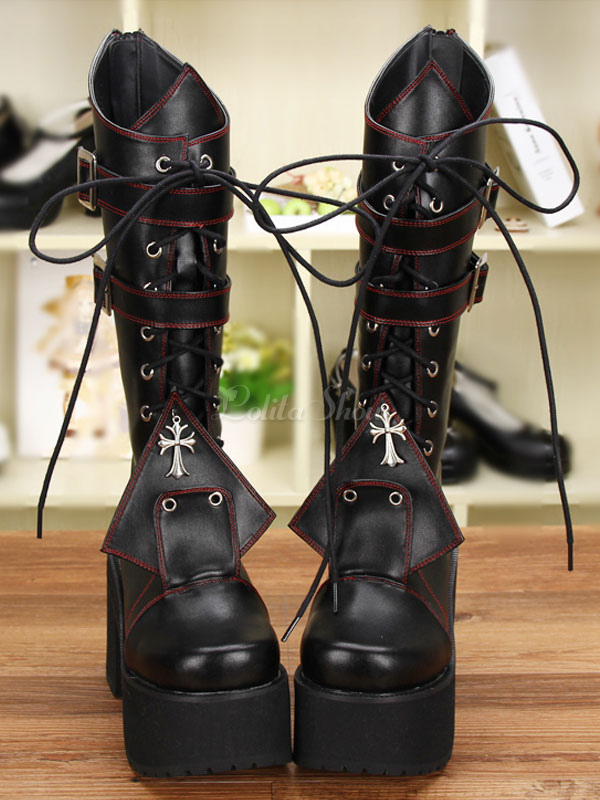 395ddcac0d6d Gothic Lolita Boots Platform Chunky Heel Square Toe Lace Up Black Lolita  Winter Boots - Lolitashow.com
