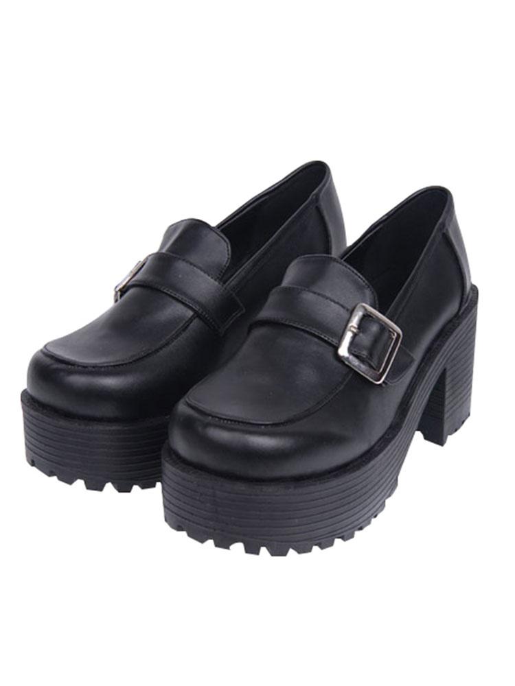 Zapatos clásicos de Lolita Zapatos de plataforma con punta cuadrada marrón Calzado Lolita v844o