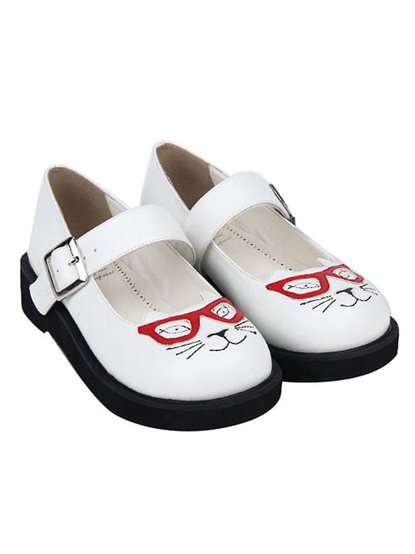 Zapatos Sweet Lolita Zapatos con estampado de gatos Zapatos con punta redonda de Lolita blanca s1jWSd903O