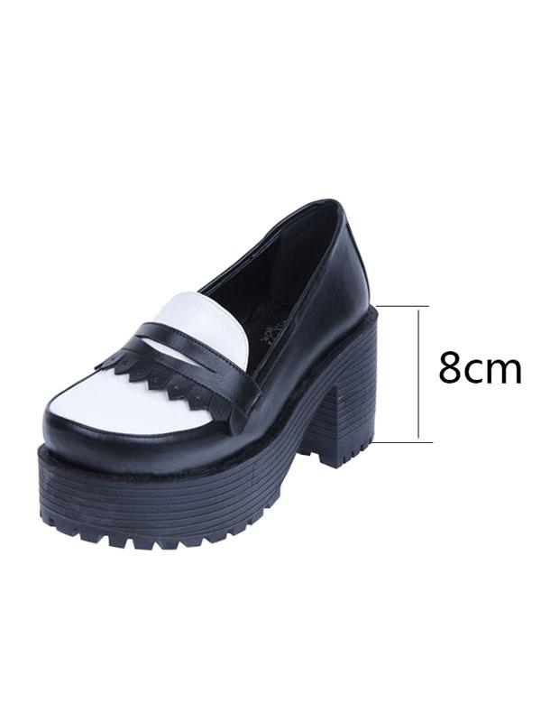 Calzado clásico Lolita Footwear Square Toe Slip On Platform Chunky Heel Lolita Shoes C2j8nwLO