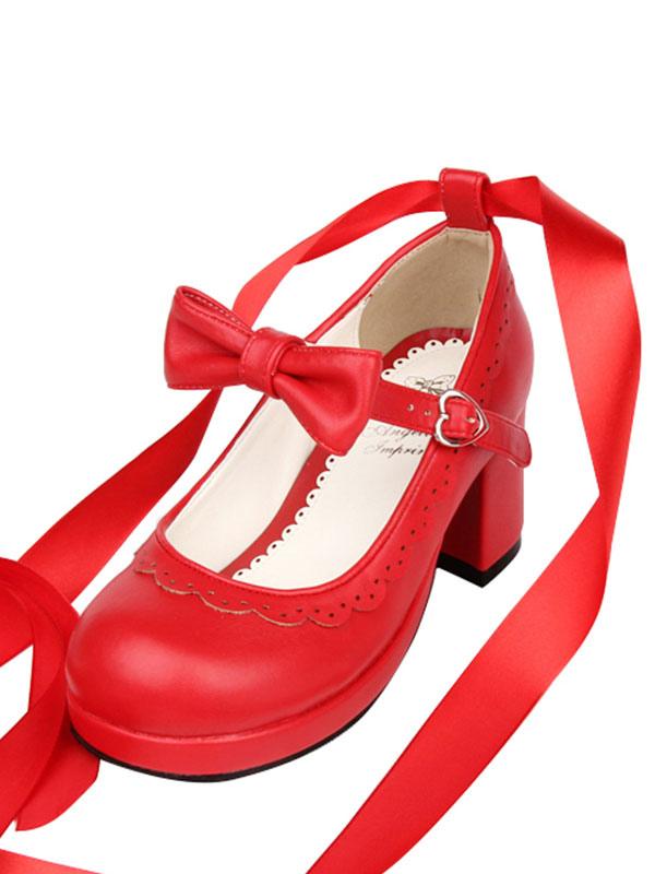 scarpe da lolita rosse rotondo zeppa tacco largo pu 6 5cm lolitashow com scarpe da lolita rosse rotondo zeppa tacco largo pu 6 5cm