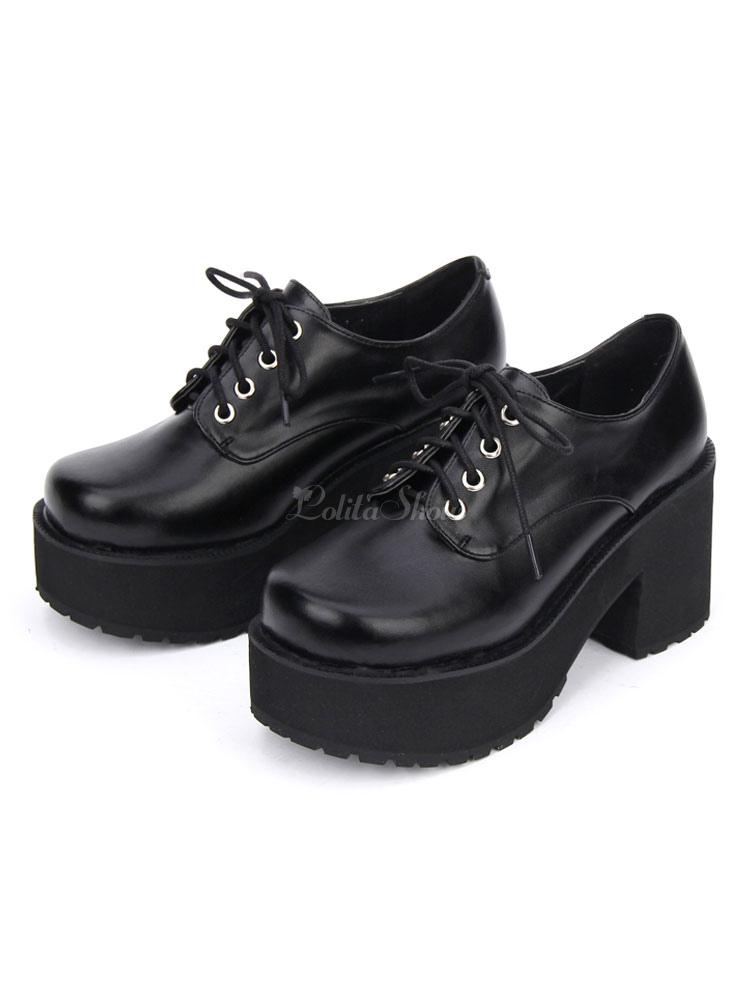 Punk Lolita Footwear Square Toe Plataforma Lace Up Chunky Heel Black Lolita Zapatos IWemY3G