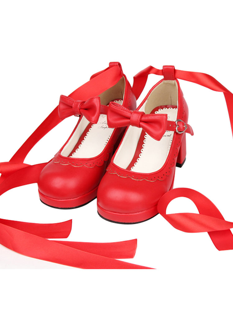 Sweet Lolita Heels Petal Bow Strappy Tie Leg Chunky Tacón Rojo Lolita Zapatos kGnDmapIi