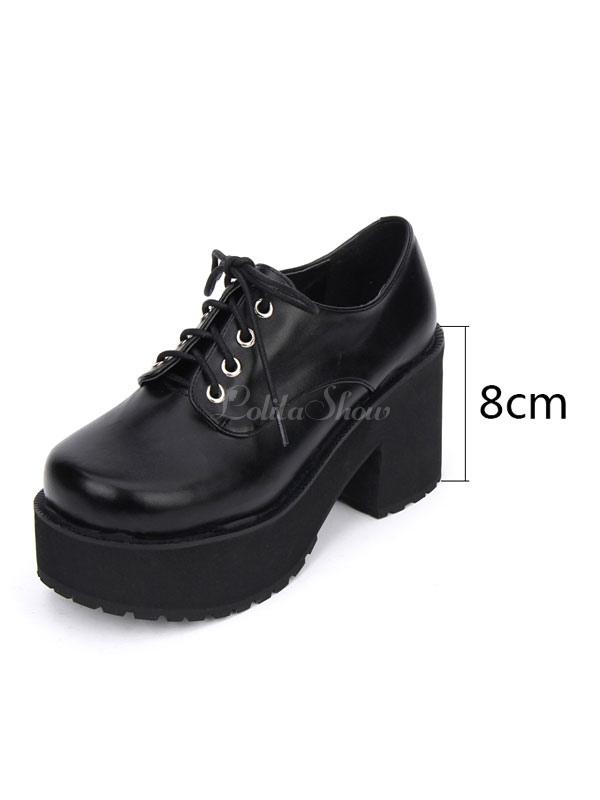 Punk Lolita Footwear Square Toe Plataforma Lace Up Chunky Heel Black Lolita Zapatos eiwG8