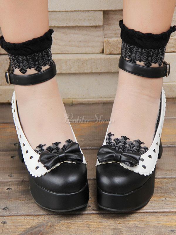Negro correa de tobillo gruesos talón PU Lolita zapatos BjlwrwM