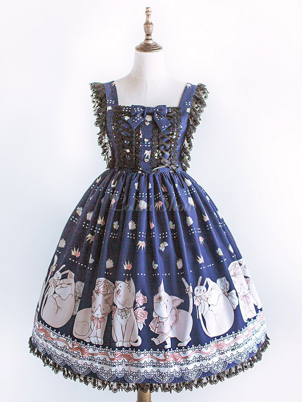 Doux Lolita Jsk Robe Chat Imprimer Dentelle Garniture Plissee Bow Lolita Bleu Jumper Jupe Lolitashow Com