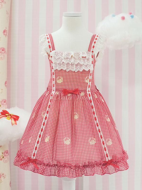 7f5c22a5d Dulce Lolita JSK Vestido de encaje recortar falda a cuadros volante Coral  Lolita Jumper falda vestido para niños