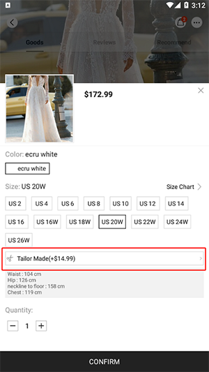 Can you customize the product according to my size (APP).png
