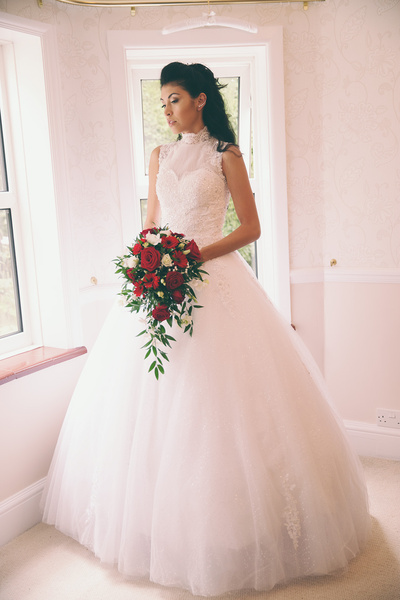 White Ball Gown High Collar Lace Floor Length Wedding Dress For
